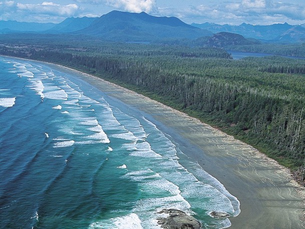 Aerial view of Long Beach in Pacific Rim National Park near Tofino.