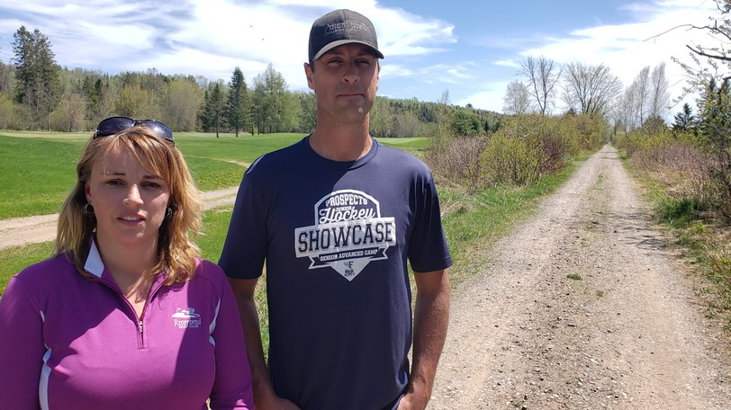 General manager of the Riverbend Golf Club Jill MacFarlane and her brother, course superintendent Todd MacFarlane, stand near the walking trail on the 18-hole golf course in Durham Bridge.