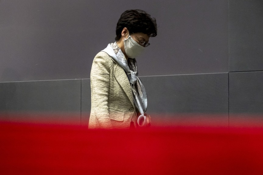 Carrie Lam, Hong Kong's chief executive, wears a protective mask following a news conference on May 22, 2020.