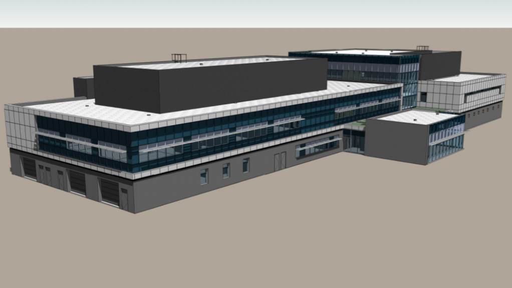 A proposed RCMP facility, shown in a computer rendering, would be on Albert Street near Vaughan Harvey Boulevard, a contaminated site historically used for industry.