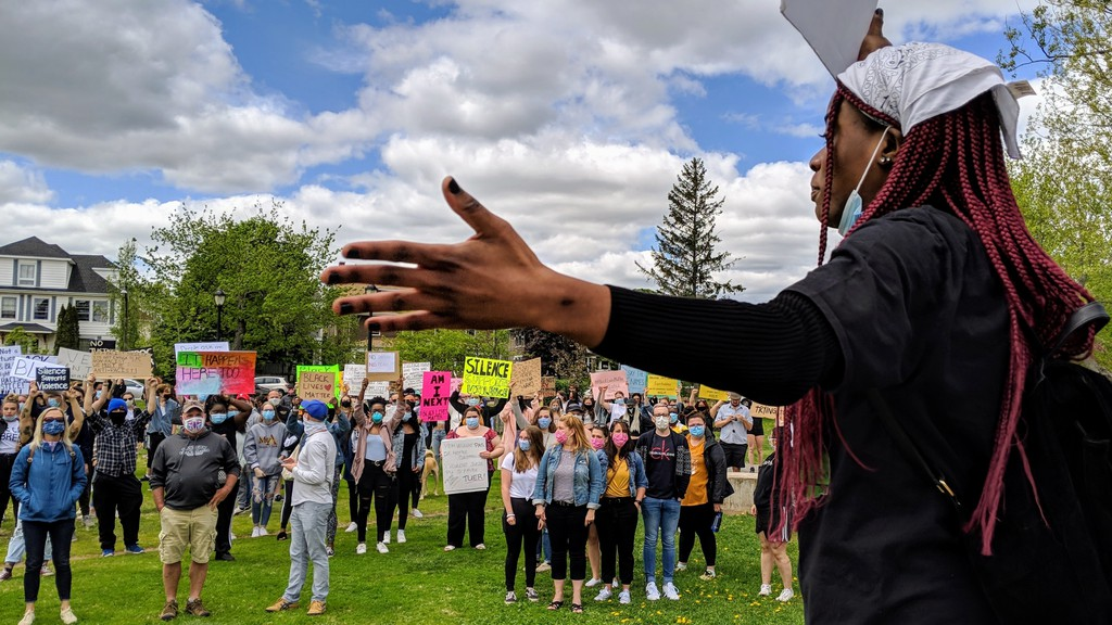 Nellys Kalgora, an 18-year-old student at Ecole l'Odyssee in Moncton, organized a peaceful rally against racism and racial violence in Moncton June 1. The rally began at Victoria Park and then moved to City Hall.