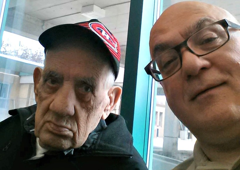 Daniel Ouellette, 84, seen here with his son Michel Ouellette, was New Brunswick's first COVID-19 victim on June 4, 2020.