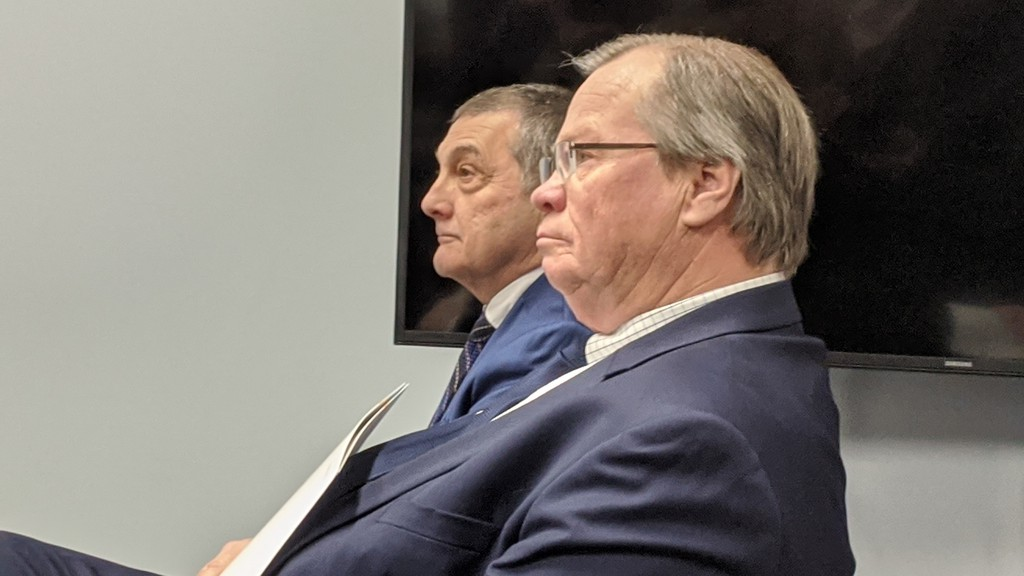 Health Minister Ted Flemming, left, pictured next to Vitalité Health Network CEO Gilles Lanteigne at a news conference in January. Serge Rousselle, attorney generalunder the Brian Gallant government, alleged in an openletter to Flemmingthat a recent appointment to the Vitalité board doesn't meet the residence requirements laid out in theRegional Health Authorities Act.
