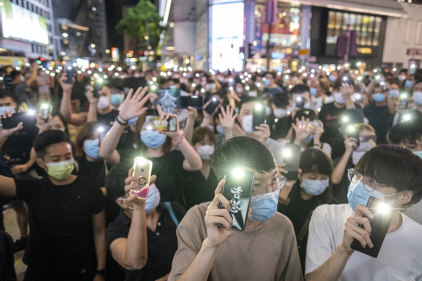 Demonstrators march in Hong Kong to protest against a new security law, which critics claim is designed to undermine democracy in the city.