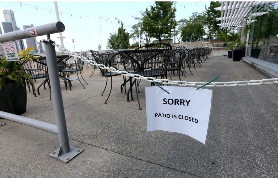 Outdoor seating for about 100 at The Bistro At The River was one of many Windsor area patios that remained closed Monday, June 22.