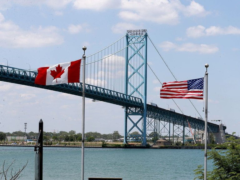 International border crossing at the Ambassador Bridge Tuesday. Though the border between Canada and the U.S. will remain closed to non-essential traffic for another month, there was plenty of truck traffic on the Ambassador Bridge in Windsor Tuesday.