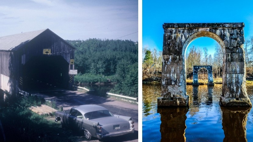 The Notre-Dame covered bridge over the Cocagne River was built in the early 1900s and torn down in the 1980s. Photo at left shows a Dodge Coronet next to the brige in 1968. Photo at right, by Michelle Girouard, shows the concrete arch supports for the bridge, which remain on the site.