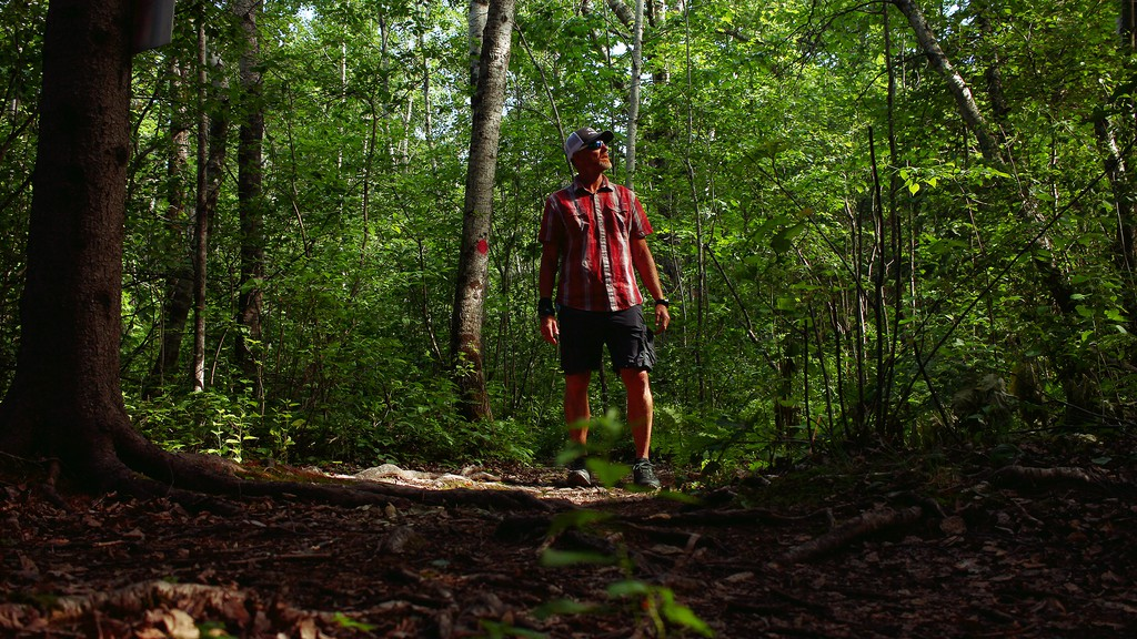 Blair Mann is photographed on a portion of the trail system within the Vision Lands, north of Wheeler Boulevard in Moncton. Mann wants city hall to protect the trail system from development.