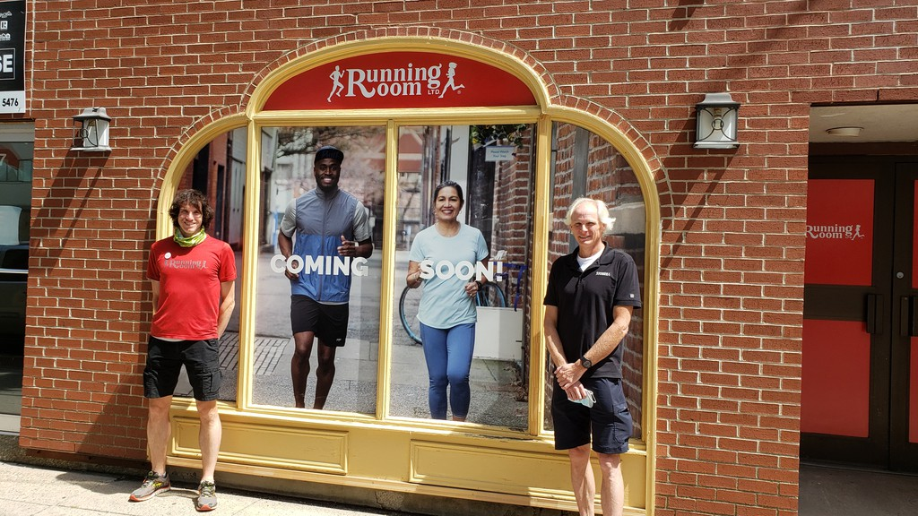 Kings Place Running Room manager Nicholas Larade, left, and area manager John Acheson, stand outside the new location for the Running Room, across from Kings Place. They hope to have the move completed by the end of August.