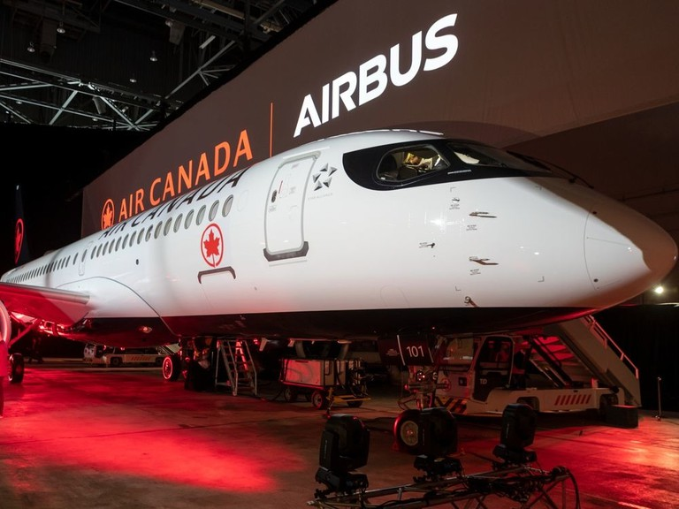 Air Canada's first Airbus A220 jet is shown in Dorval, Que. on Wednesday January 15, 2020.