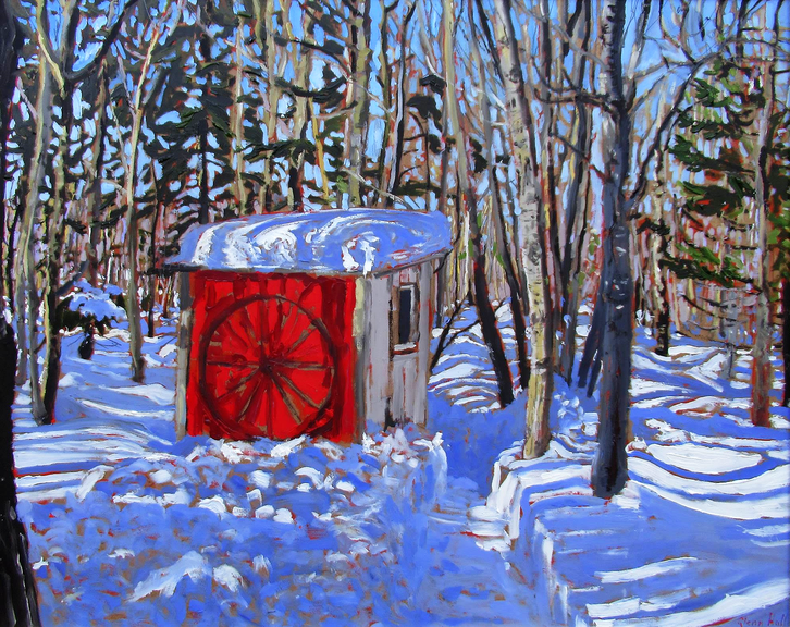 Saint John-born artist Glenn Hall is known for his stirring outdoor paintings, including this one titled Out Building, Jon MacDonald's Cabin.