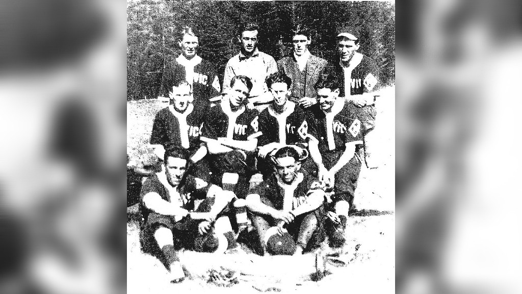 The 1918 Championship Vics team from Nelson were part of a long history of sports in the Miramichi area. Top row: Eddie Hanley, Bert Fitzpatrick, Bryon Veriker, Bill English. Middle row: Stan Richardson, Eldon Ackinson, Charlie King, Everette Dolan. Bottom row: Bert Coughlin, Mike Blacquier