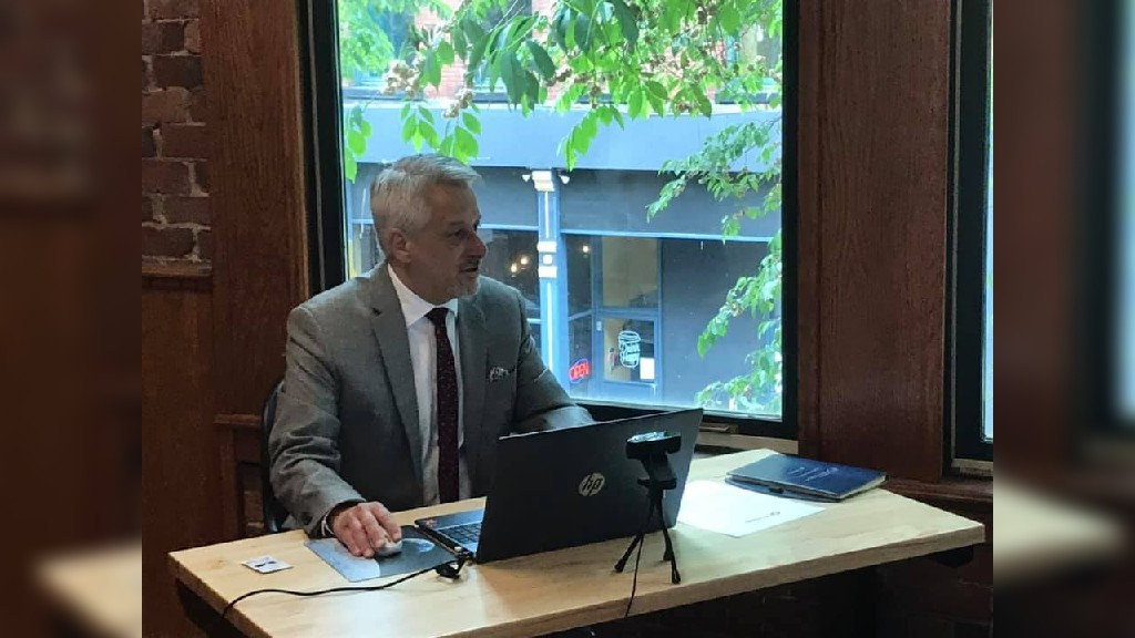 David Duplisea, CEO of the Saint John Region Chamber of Commerce, speaks at the virtual annual general meeting on Tuesday.
