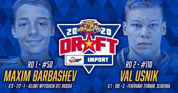 The Moncton Wildcats selected Russian forward Maxim Barbashev and Slovenian goaltender Val Usnik in the 2020 Canadian Hockey League Import Draft on Tuesday.