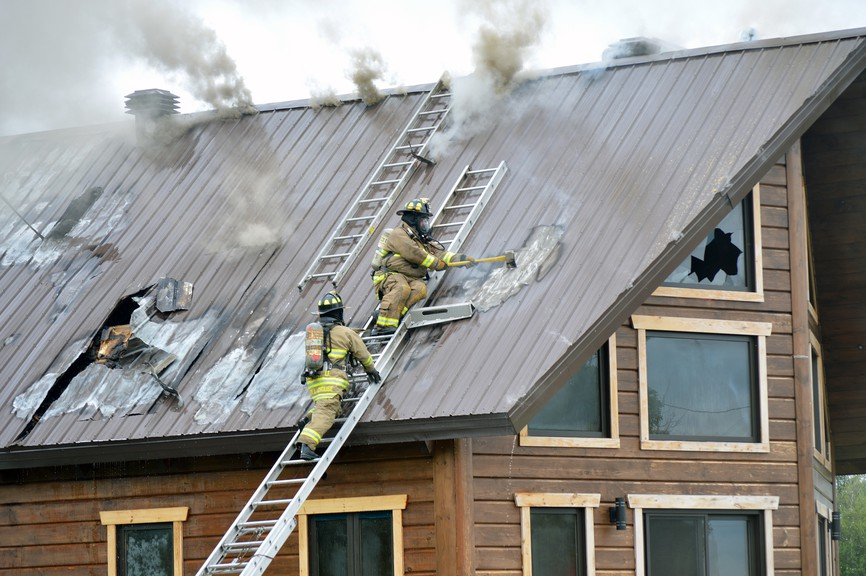 Firefighters with the Oromocto Fire Department battled a stubborn blaze in the roof of a home in Maugerville for more than four hours on Tuesday afternoon.