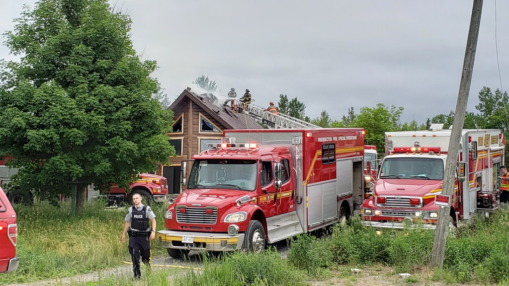 Firefighters with the Oromocto Fire Department battled a stubborn blaze in the roof of a home in Maugerville for more than four hours on Tuesday afternoon. Chief Jody Price said the fire has been deemed suspicious.