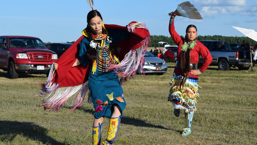 Kyanna Kingbird and Tessy Taylor, dancers from Esgenoôpetitj First Nation, helped kick off Miramichi Rock 'n Roll Festival's Canada Day Far and Wide on Wednesday.