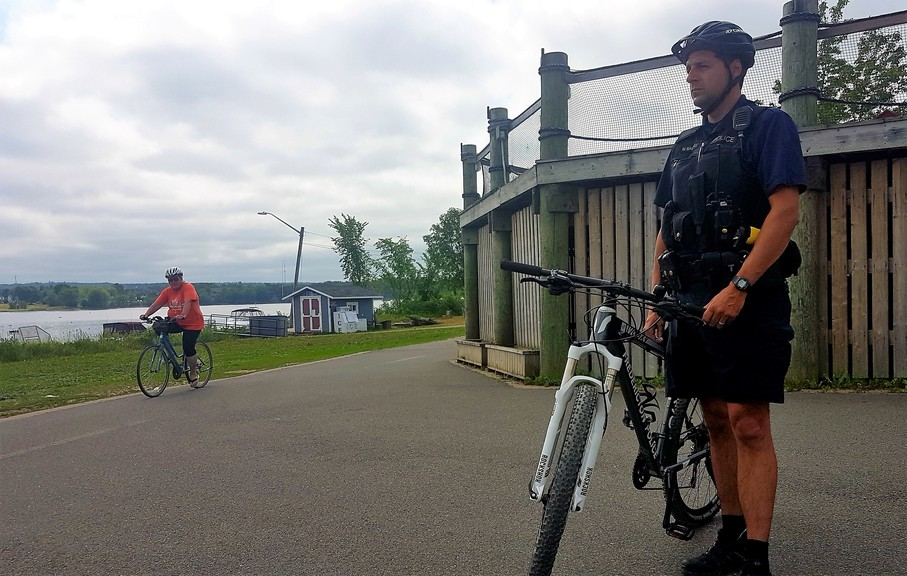 Const. Mike Bamford of the Fredericton Police Force will be promoting cycling safety on the trails and on streets downtown this summer.