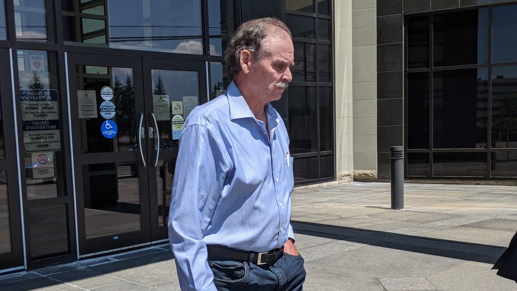 Bruce Van Horlick leaves the Moncton Law Courts on July 2, 2020. He's on trial for two counts of assault causing bodily harm.