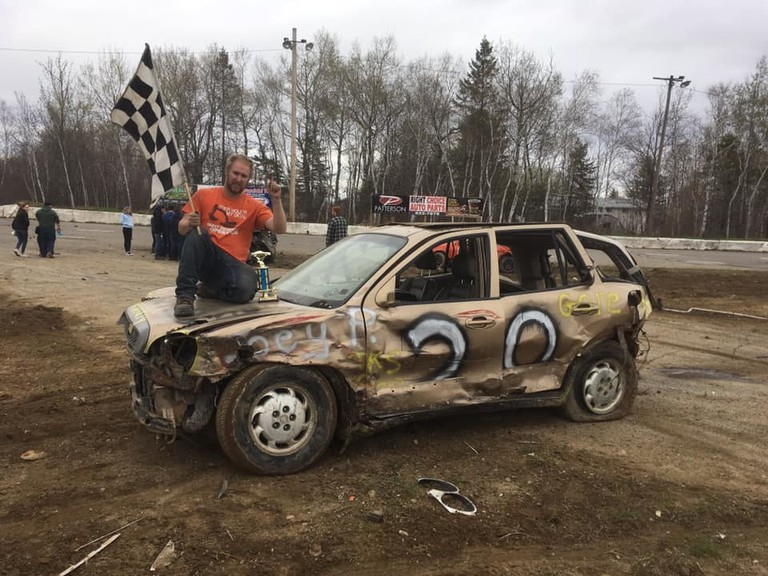 Joey Pitre celebrates his 2018 demolition derby championship win at Speedway Miramichi. The McKinnon Road track in Douglastown is planning a COVID Crash for Cash demo derby show for July 25, with a potential grand prize of up to $2,000.