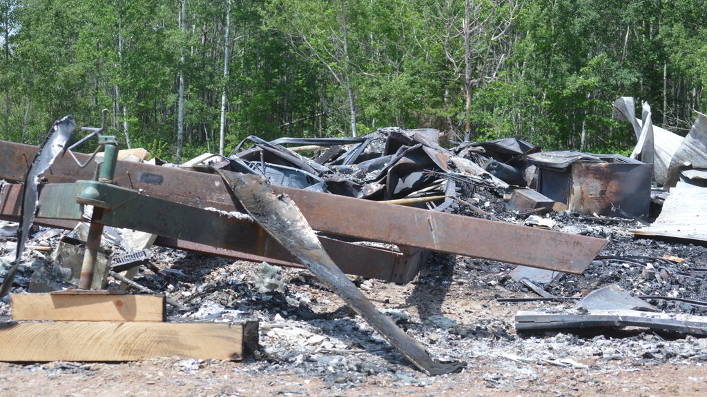 RCMP are looking for information on a suspicious fire that destroyed this unoccupied mini home on the Anderson Road during the early morning hours of June 23. RCMP believe this fire and one that destroyed an unoccupied small house just south of Plaster Rock on the same night, are related.