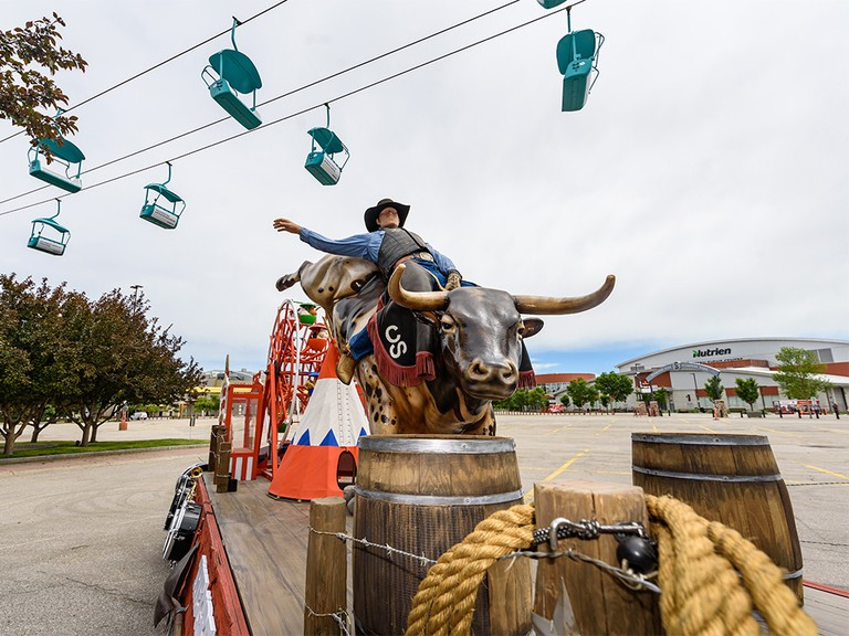 A Calgary Stampede float, which will be used in the upcoming Stampede drive-thru, sits at an empty Stampede Park on July 2, 2020.