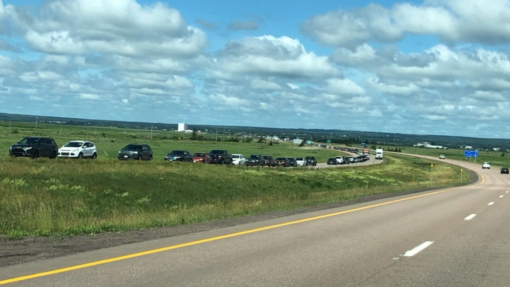 The line to cross New Brunswick to Nova Scotia on Highway 2 at 11:15 a.m. The line extended almost as far as the second Sackville exit.