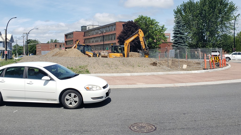 This image taken Friday shows heavy equipment about to start work on the construction of the foundation for a piece of public art worth $150,000 at the centre of the Victoria Circle on Smythe Street.
