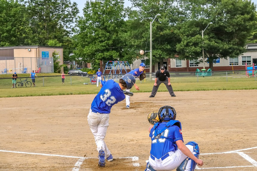 Caleb Rice of the Andrew Rice Royals launches a solo home run during 15U minor baseball action against the Tony Hay Royals on Friday at Henry Park. The Tony Hay Royals rallied for a 4-3 win in an extra inning.