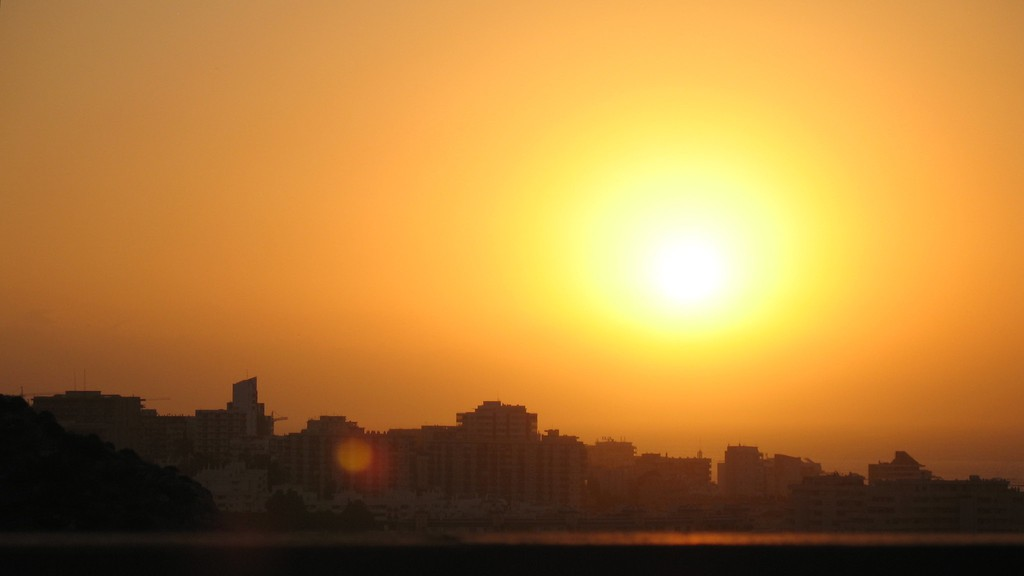 "An ""aphelion sunrise"" is seen in Málaga, Spain on July 4, 2008, at the point in the Earth's orbit when it is at its furthest from the Sun."