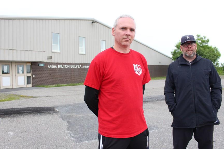 Saint John Soccer Club vice-president Cuilean Hendra, left, and Gary Crossman of the Saint John Metro Ball Hockey League say their organizations are interested in purchasing the Hilton Belyea Arena.