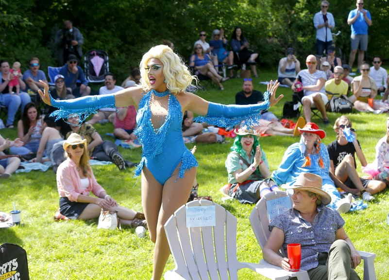 Miss Canada Continental Mona Moore puts on show as she held a Stampede in the Park event with friends in Calgary on July 5, 2020.