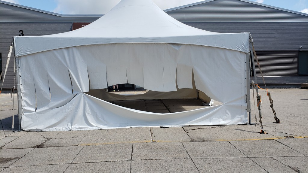 The COVID-19 testing tent in front of the medical centre on King Street was vandalized Sunday.