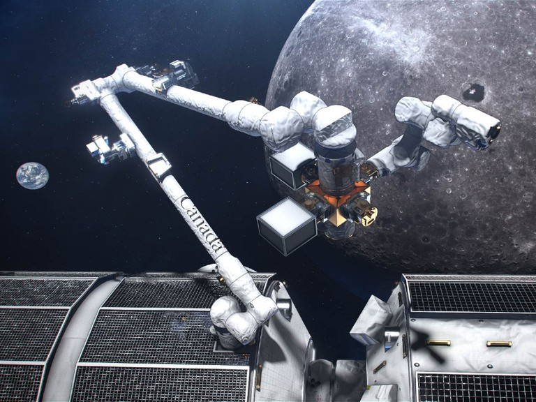 An artist's concept of Canadarm3 on the Lunar Gateway orbiting the moon.