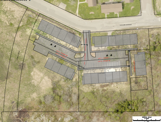 A plan for the 134 Taylor Avenue townhouses development.
