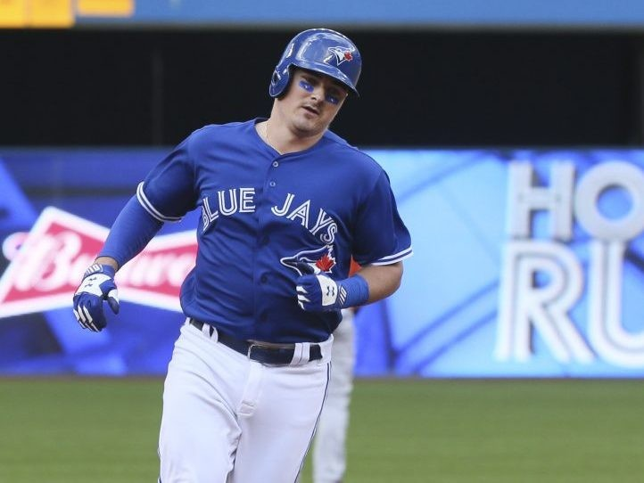 Reese McGuire during the Blue Jays' final game of the 2018 season at the Rogers Centre in Toronto.