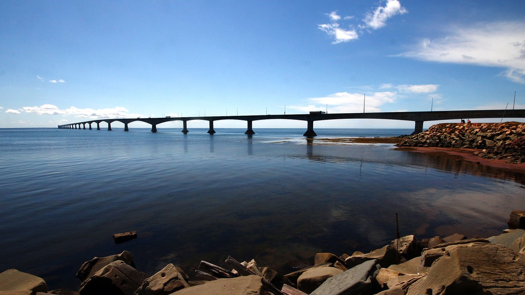 The Confederation Bridge between New Brunswick and Prince Edward Island.