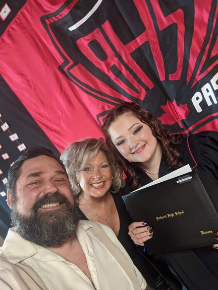 The Bathurst Youth Centre Des Jeunes is organizing two proms for graduates of the Bathurst High School and École Secondaire Népisiguit. Kristie Halka-Glazier, the mother of a graduating student, came up with the idea. She is pictured with her husband Sean Glazier and their daughter Katanah Halka-Glazier.