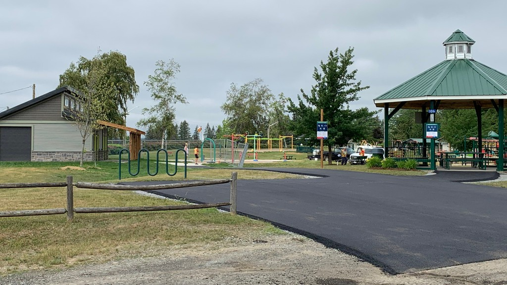 Fresh pavement makes a wheelchair accessible path to the Connell Park campground's new washroom, on the left. The park is set to open to the public on Thursday.