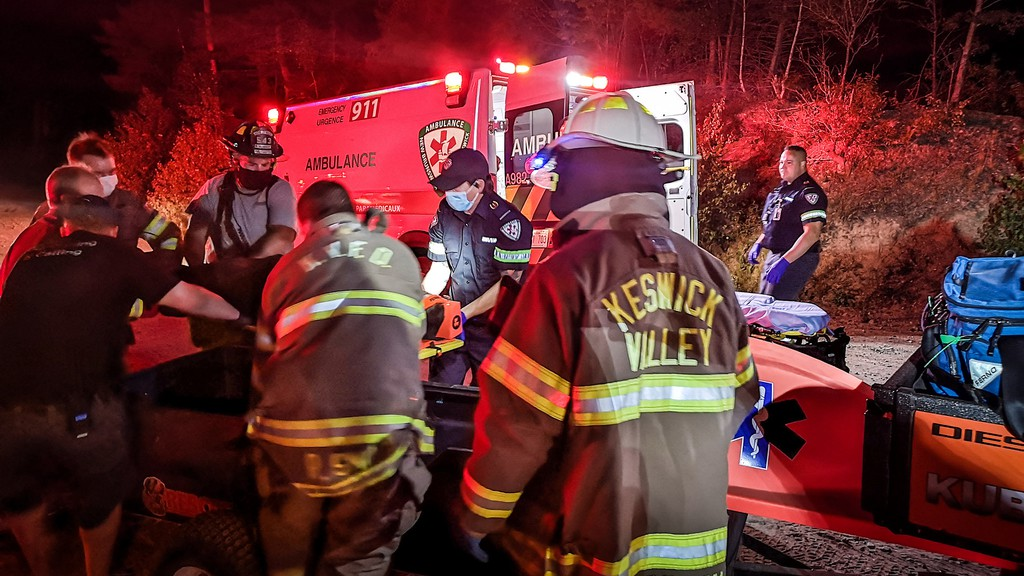 A man was injured Tuesday night after crashing an ATV in a gravel pit, said North York Fire Chief Justin McGuigan.