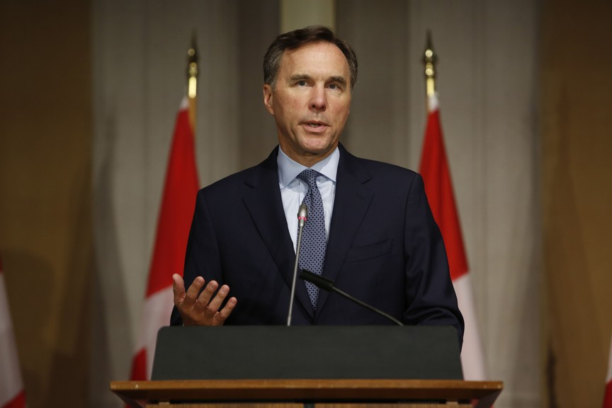 Bill Morneau, Canada's minister of finance, speaks during a news conference in Ottawa, Ontario, on July 8, 2020.