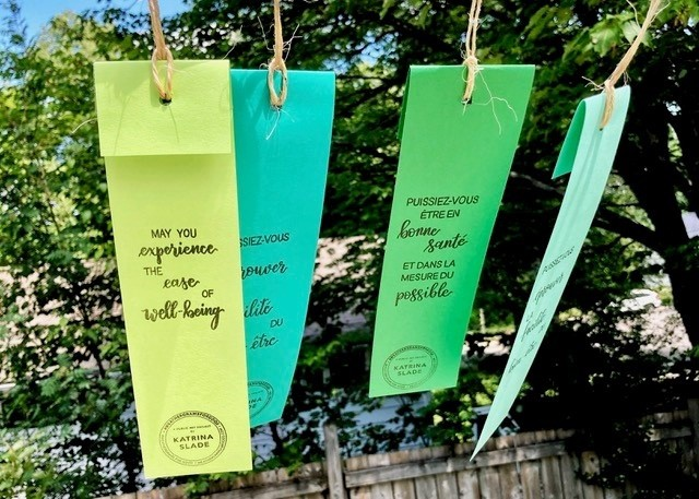 Hundreds of weathergrams with inspiring messages written on them were hung up in front of Fredericton city hall Thursday as part of an art installation to remain until mid-fall.
