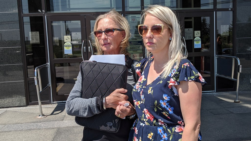 Sharon Kennedy (left) and her daughter Krystal Kennedy speak to reporters on July 9, 2020, after the man who killed Candice Kennedy-Faguy was sentenced to 12 years in prison.