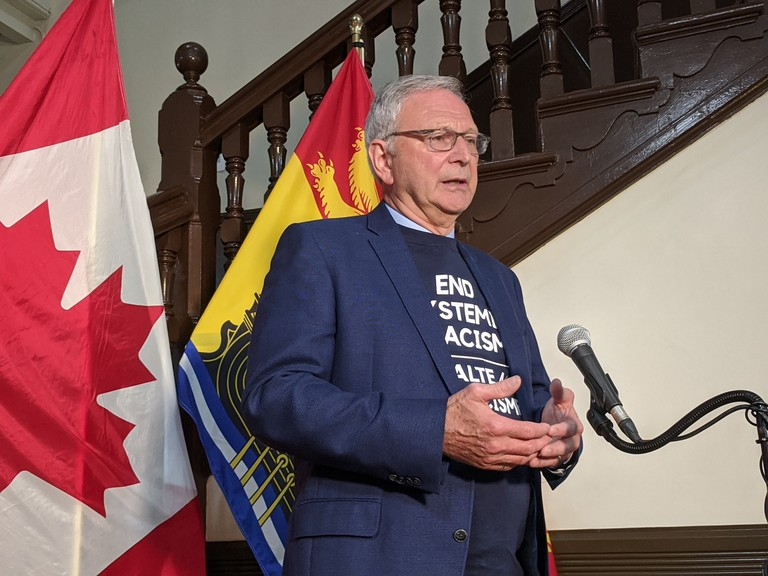 Tobique First Nation Chief Ross Perley said this about the premier on Friday: 'Mr. Higgs agreed to wear our T-shirt calling for an end to systemic racism. It would appear that wearing a T-shirt is the extent of efforts Mr. Higgs is prepared to make to address racism.'