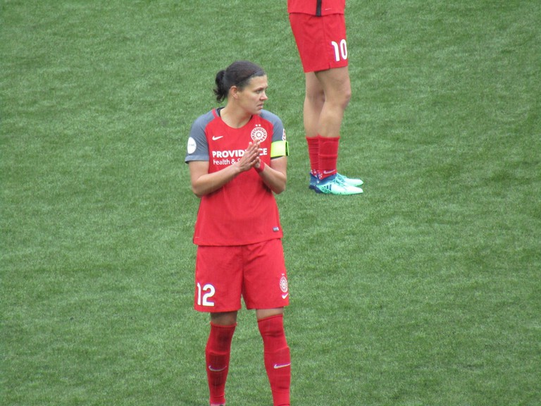 Canada's Christine Sinclair, seen in 2018, is the captain of the Portland Thorns in the National Women's Soccer League.