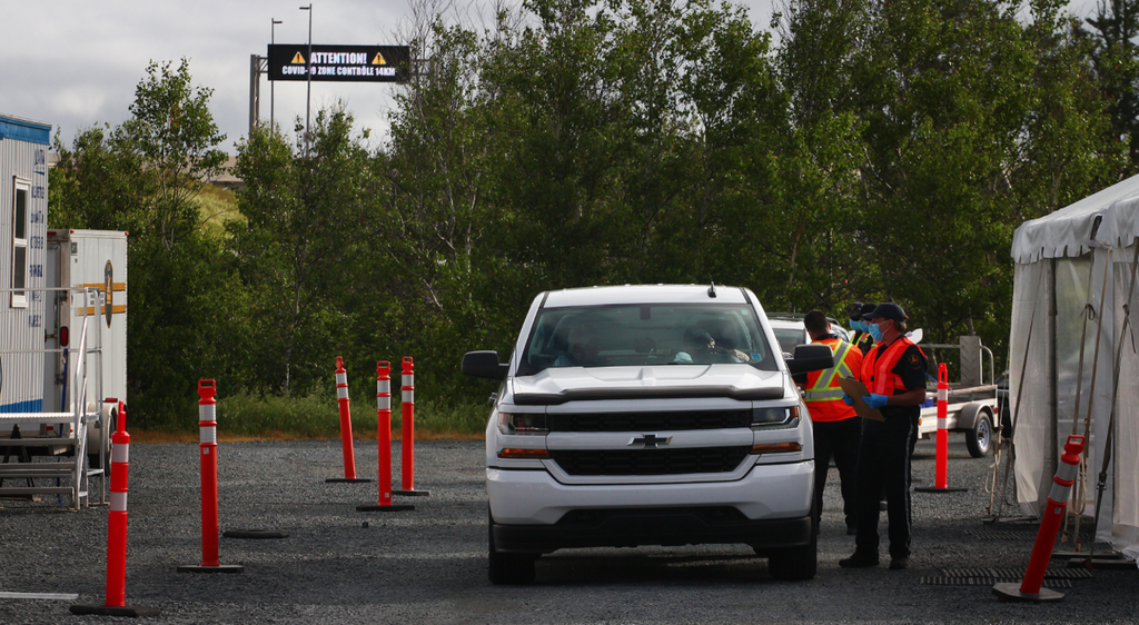 Authorities screen travellers at the New Brunswick border checkpoint near the Confederation Bridge last Friday morning.