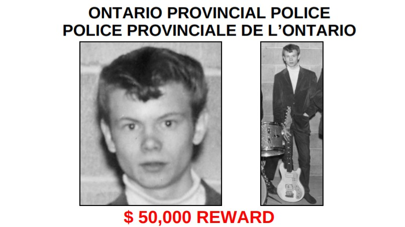 "An Ontario Provincial Police poster advertising a reward for information that leads to the arrest and conviction of the killer of Richard ""Dickie"" Hovey, of the Fredericton area."