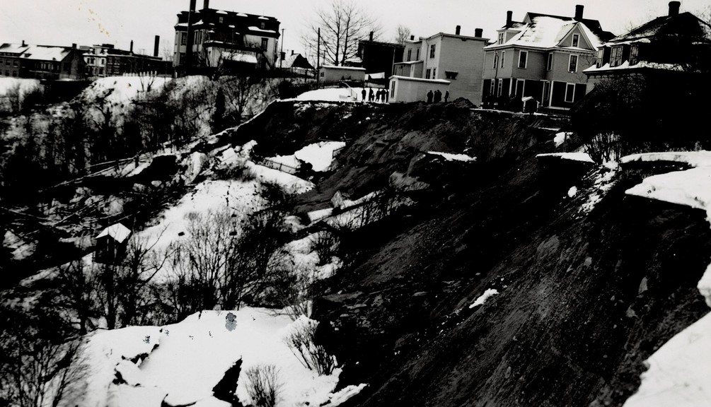 This walk will take you past the five houses on Lancaster Avenue that are seen in this photo teetering on the edge of the 1949 landslide, but where saved from slipping over by the fill placed by contractor George Chittick, who either took this photo or had it taken.