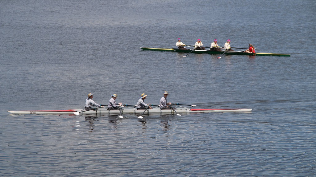 Fredericton Rowing Club members re-enact a historic race in this file photo. The club and its new directors is taking a new rival club and the provincial rowing association to court.