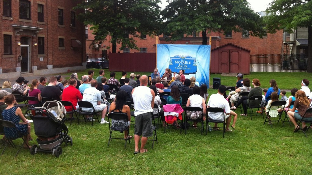 To ensure safety during the COVID-19 crisis, the 2020 NotaBle Acts Theatre Festival will offer online sessions and outdoor performances, such as the one above from 2013, though with smaller audiences and more social distancing.